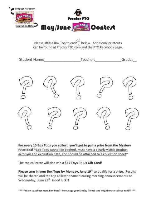 Box Tops - May-Jun Contest PDF