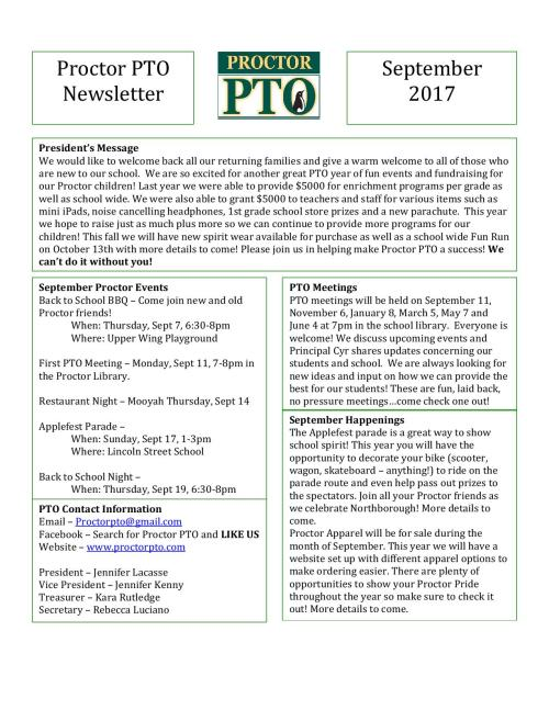 PTO Newsletter Sept 2017